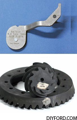 These are the pinion head shims that come in a typical rebuild kit. The total shim range is .010 to .038 inch. These shims can be stacked to achieve the correct height. These shims are used to compensate for variations in production tolerances, specifi cally the variation of the housing machining and gears. As mentioned earlier, Ford gears are very consistent and the main source of variation is from the housing machining. 3