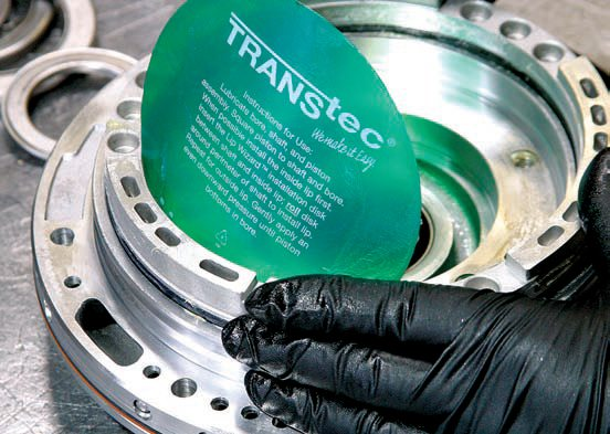 This Lip Wizard from TransTec is used at TRC, which worked very well for installing clutch pistons and seals. The Lip Wizard is available from any transmission parts supply house.