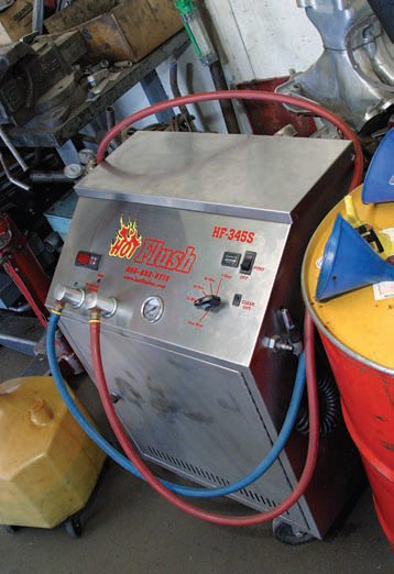 Although a piece of equipment such as this is probably too expensive for your home workshop, it's good to know a transmission shop that has one. The Hot Flush system pressure surges in two directions to flush out your transmission cooler and lines. It also flushes out transmissions. The Hot Flush system is very effective at removing all damaging debris from your transmission's fluid cooling system.