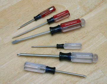 Your tool crib should include most basic hand tools such as screwdrivers of all sizes. Sears Craftsman offers the greatest value for your tool dollar, including a lifetime warranty good just about anywhere in the world. Other sources, such as Harbor Freight, offer specialty tools and equipment for not much money.