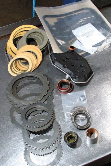 This TCI Automotive transmission overhaul kit has just about everything needed to complete an AODE/4R70W rebuild. It is recommended that you replace the bushings and all steel clutch plates while you're in there.