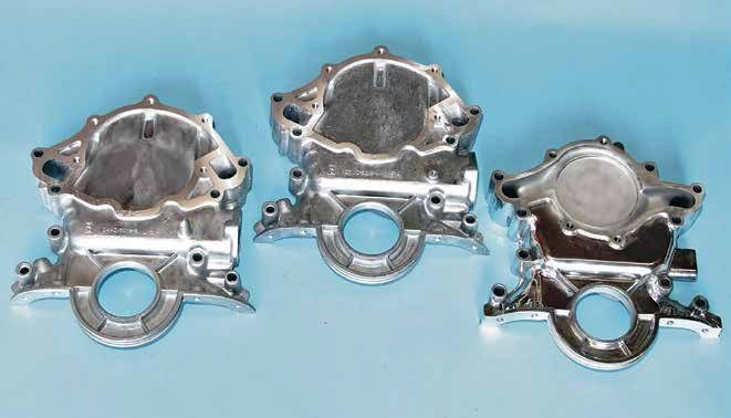 Ford offered three basic types of small-block timing covers. On the left is the 1962–1967 cover with cast-in timing pointer. In the middle is the 1968-up version with bolt-on timing pointer (driver-side 1968–1969 and passenger-side 1970-up). This timing cover is available in two styles: clockwise rotation water pump and reverse rotation  (serpentine-belt drive). A version with blocked off fuel pump mounts is available. On the right is the late-model reverse rotation with the petite water pump (1989–2001).