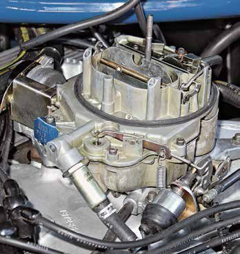 This is an Autolite/Motorcraft 4300D spread-bore carburetor for the Boss 351, 351C High Output, and 351C-4V Cobra Jet. The 4300 and 4300D were Ford's response to the Rochester Quadrajet in an effort to clean up emissions and improve fuel consumption. This is a D1ZF 4300D on a 1971 Boss 351C.