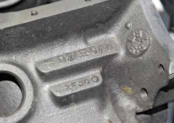 The 351C block casting number and date code are located just above the starter, just as on the 221/260/ 289/302/351W. The D2AE-CA is the ultimate evolution of the North American Cleveland block. This block was cast February 30, 1972.