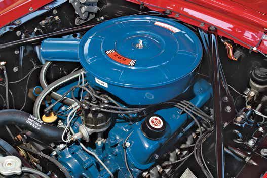 On May 2, 1966, Ford redesigned the 289 valvetrain to a rail-style rocker arm instead of a pushrod guide cast in the cylinder head. Because the rail-style rocker arm created clearance issues with the slope-side valvecover, Ford designed a new pent-roof flat-top valvecover, which ran through the 1967 model year.