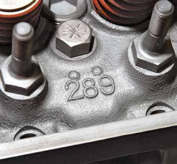 "The ""289"" with two bumps is exclusive to the 289 High Performance cylinder head. External markings (cavity numbers 19, 20, 21) in the outside corners are also a quick means to Hi-Po head identification. If you see any of these numbers you have a 289 High Performance head."