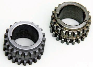 This is part of that weak link with the front timing chain package. The factory dual-sprocket crank-timing gear has a tendency to fail due to weaknesses and size issues in the teeth. This should be a part of your timing system upgrade. On the right is the stock gear. On the left is Modular Motorsports' redesigned and coated gear.