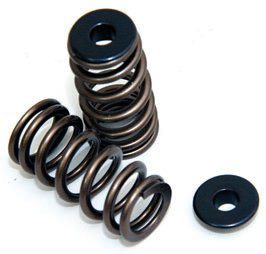 The Coyote's valvesprings are smaller and lighter than those on the 4.6L and capable of higher revs. These valvesprings resemble aftermarket beehive springs and work in a similar fashion. Shown here are Modular Motorsports' titanium retainers, which weigh even less and deliver unequaled strength.