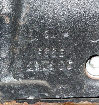 Casting numbers are located on the block skirt. This is the entire casting number. The date code helps identify the block by the year that the block was cast.