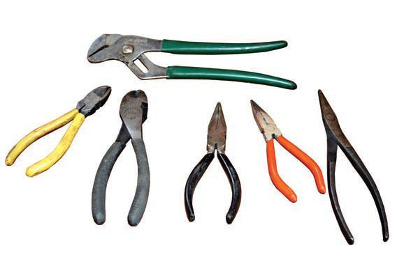 A good assortment of pliers and side cutters prove useful with this and many other auto projects undertaken in your home shop. Hose clamp and water pump pliers are a must for automotive projects. Duckbill and needle-nose pliers are also handy items to keep in your toolbox. Remember that pliers are not designed to remove nuts and bolts. Use the proper tool for the job.