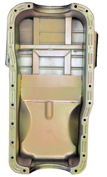 "Aggressive driving requires aggressive oil control. This road race oil pan from Milodon includes special baffles, trap doors, and extra capacity to help keep the oil away from the spinning component (thus reducing ""windage"" losses and increasing net power). They also keep the oil near the oil pump so it gets picked up. This ensures stable oil pressure and less risk of engine damage. Deep pans may be fine at the track but reduce ground clearance on the street."