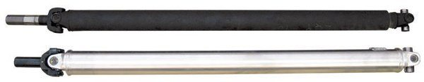 A direct-replacement aluminum driveshaft is usually the best solution for a street-driven car that's not too heavily modified. It's lighter and stronger than an OEM steel driveshaft. Here is an OEM steel driveshaft (top) from the 1968 coupe and a stronger and lighter aluminum driveshaft (bottom) from Inland Empire Driveline Services (IEDS). The original fit the C4 and 8-inch rear. It's 3 inches in diameter and weighs 19.1 pounds. The IEDS driveshaft is for an AOD and a 9-inch so the length was custom-made. Even though it's larger in diameter (3.5 inches with 1350s), and much stronger, it weighs only 14.7 pounds.