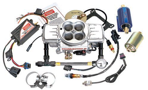 "The Powerjection III kit from Professional Products provides throttlebody fuel injection. You have to install an electric fuel pump in the tank, install sensors, use high-pressure fuel lines, and adapt the system to your wiring harness. You hook up all the wiring and check everything for leaks and other problems before you turn the key to start it. You can use it in a ""blow-through"" configuration with a supercharger or turbocharger because it has a built-in 2.5-bar MAP sensor that can read up to 25 psi of boost. The Powerjection III is good for up to about 550 hp with the standard parts. A larger throttle body (1,200 versus 750 cfm), larger fuel injectors, and a more-powerful fuel pump can raise the power capability to about 700 hp. (Photo Courtesy Professional Products)"