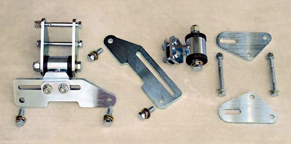 The highest-output street engines benefit from using a more specialized motor mount design, such as this from Ron Morris Performance. They use some polyurethane for cushioning for less noise and vibration in street use. These motor mounts are suitable for engines up to about 1,000 hp. They're adjustable so they provide flexibility as to where the engine sits, thus helping to minimize interference issues while allowing a lower center of gravity for better handling.