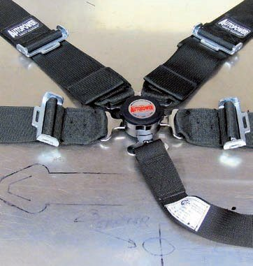 This Autopower safety harness set uses a Pro-Cam rotary latching mechanism. This is generally easier to use (only 1/4 turn to unlock) and less bulky than older latches. They use 3-inch webbing for the four main belts and 2-inch webbing for the crotch belt. They meet SFI spec 16.1 and, because they're made in the United States, it's much easier to have them recertified when needed. This can be after a collision but also when the belts reach a specific age (threads, etc., must be replaced to stay in spec).