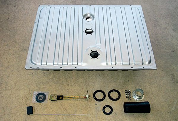 For a conversion to EFI, it's best to get a fuel tank that's been modified to accept the necessary hardware, such as this one from Tanks, Inc. This 16-gallon fuel tank is a direct bolt-in for 19641 ⁄2–1968 Mustangs. It's been designed with an internal 4.3L sump and baffling that keeps the fuel pump pickup fully immersed even under the most extreme dynamic conditions. The electric fuel pump module/bracket is installed through a hole in the top of the tank that's been located over the sump. You can use one of the pump modules available from Tanks, Inc., or the pump of your choice so long as the mounting bracket is compatible. A standard fivehole aftermarket fuel sending unit can be installed in the top hole for a fuel gauge.