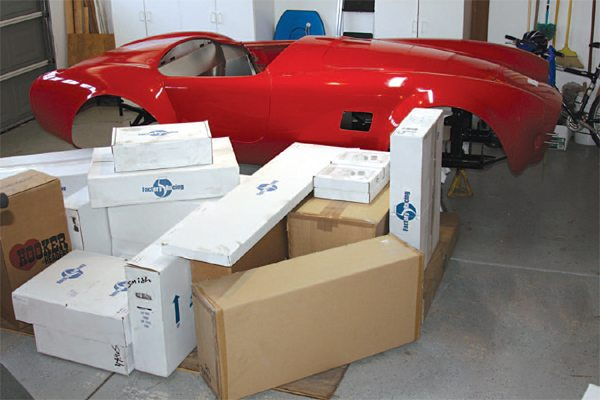Our FFR Mk4 Complete Kit (22 boxes) was successfully loaded into the garage along with the body on the chassis.