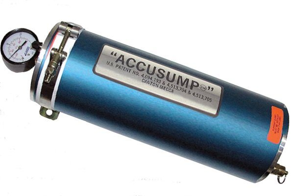 This Accusump oil accumulator unit from Canton/Mecca stores a quantity of oil under pressure so that if engine oil pressure drops, the oil from the Accusump is immediately forced into the engine to compensate and prevent engine damage. When normal oil pressure is restored the oil is forced back into the Accusump to be ready for the next such event. With the installation of a valve in the line to the engine the Accusump can also be used to pre-oil the engine before it is started, thus greatly reducing one of the major sources of engine wear. (Photo Courtesy Canton/Mecca)