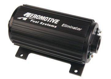 Aeromotive's Eliminator pump is their highest-flow pump meant for continuous/street duty. (Only their Pro Series pumps, which are meant for short-time use, flow more.) The Eliminator pump can support up to 2,300 hp carbureted and 1,900 hp with EFI. Those figures drop about 26 percent with boost. The pump has a dual-chamber pumping mechanism and, like its smaller in-tank brother, is especially good at having higher flow at higher pressures. (Photo Courtesy Aeromotive)