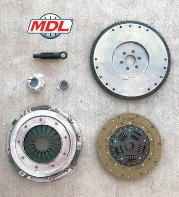 This kit is intended for a heavier car and uses a flywheel with less weight reduction to help improve its launch. The clamping force of the pressure plate has been matched to the full Kevlar facing of the clutch disc. It includes a new throwout bearing, pilot bearing, and alignment tool. (Photo Courtesy Modern Driveline)