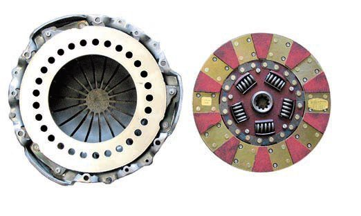 A lightened pressure plate helps provide maximum engine response. The strategic removal of material reduces the absolute weight of the pressure plate as well as the rotational inertia, thus allowing the engine to rev up more quickly. The clutch disc is very light because it uses a ceramic facing on the flywheel side with an organic facing on the other side. This, along with the sprung hub, provides high torque capacity yet retains smoother engagement.