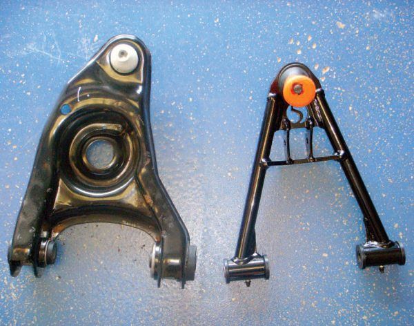 Rather than using the stock-donor lower control arms (left), Ingerslev splurged and purchased some lighter-weight, stronger, and higherperformance Factory Five Racing tubular lower control arms (right). The optional control arms yield a lower unsprung weight and enable the car to corner more firmly.