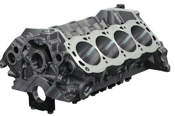 Aftermarket engine blocks, such as this Dart SHP block, are much stronger than OEM Windsor small-blocks. They're made from a superior iron; an aluminum block saves 90 pounds. Both iron and aluminum blocks feature numerous design improvements including thicker decks, four-bolt (splayed) mains with steel caps, and reinforcements. (Photo Courtesy Dart Machinery)