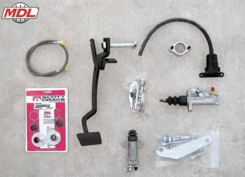 This kit from MDL includes a new clutch pedal along with a roller bearing upgrade for smoother clutch action and longer wear. It includes the components to install a complete hydraulic clutch actuation system. This is far superior to the OEM mechanical linkage and also provides several advantages (more exhaust and steering clearance, for example) when compared to cable-type systems. (Photo Courtesy Modern Driveline)