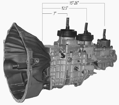In 2004, Tremec came out with the TKO-500 and TKO-600 5-speeds to replace the earlier TKO models. The updated transmissions handle more horsepower and have more gear options. The image shows three shifter locations at 7, 12.5, and 15 to 26 inches from the mounting face of the transmission. These shifter locations are offered exclusively by Keisler Automotive Engineering. (Photo courtesy Keisler Automotive Engineering)