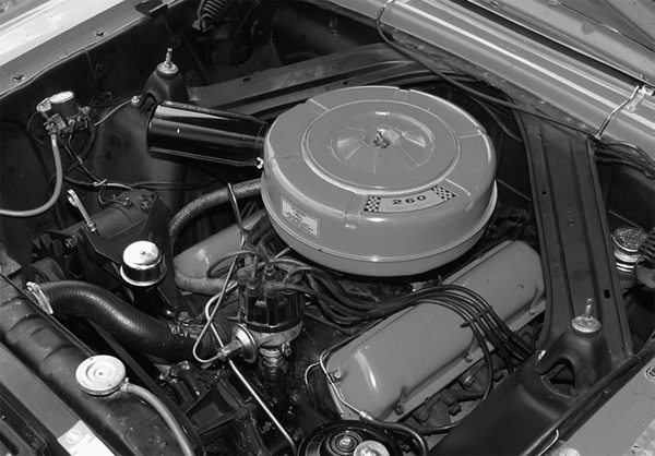 This is the 260-2V small-block V-8 in stock form. Introduced in 1962, the small Fairlane V-8 became a legendary performer.