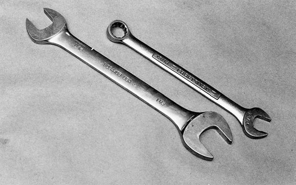 When we speak of wrenches, opt for the combination wrench on the right. The combination wrench gives you the benefit of a box or open-end wrench.
