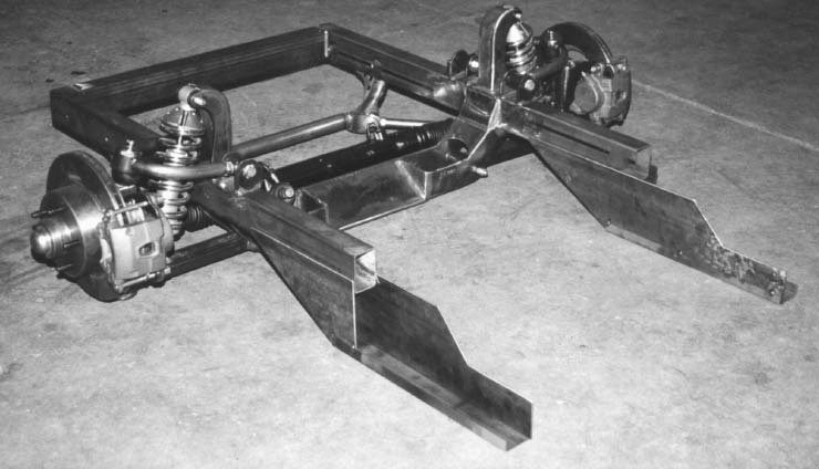 Martz Chassis saw there was a market for upgrading the front suspension to something other than a Mustang II set-up. This front clip replaces the weaker stamped-steel frame for increased strength. (Photo Courtesy Martz Chassis)