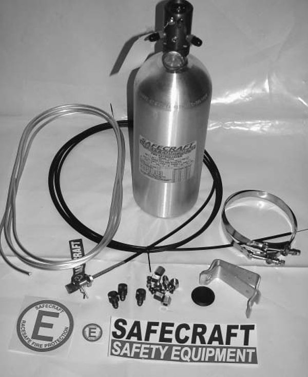 This is a Safecraft Safety Equipment RS extinguishing system with the optional 10-pound bottle. It comes with mounting brackets, T-bar clamps, hardware, pull cable, discharge tubing, and discharge outlets. The 360-degree discharge head has three outlets and provisions for mounting one push knob and two pull cables (separate cables for the driver, navigator, and safety crew)