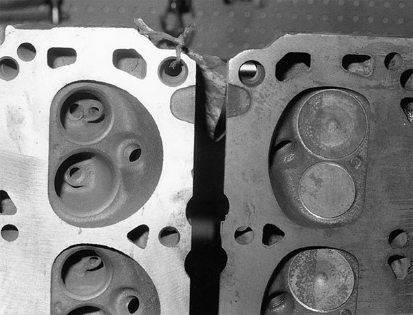 Here are two examples of 351W cylinder heads. On the right is an early 351W head with a different wedge chamber than we see with the 289/302 head. The 351W head chamber changes later on in the 1980s with a larger wedge chamber (left). The larger chamber does two things. It reduces compression by increasing clearance volume. And it changes the way the fuel and air ignite and travel across the chamber.