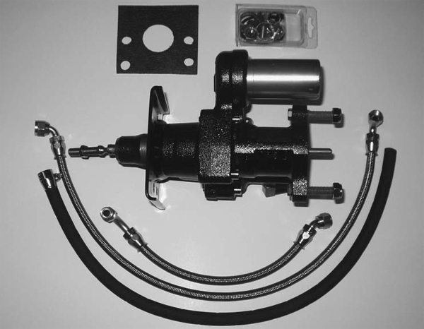 If you want the ultimate in power-assisted brakes, you can install a Hydroboost brake booster. Instead of relying on vacuum for operation, it uses fluid from a power steering pump. This is a kit offered by Hydratech Braking Systems. (Photo Courtesy Hydratech Braking Systems)