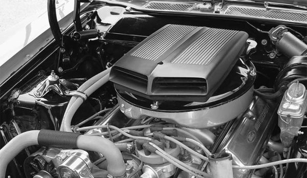 The original 351C has been replaced with a much lighter 351W equipped with GT40X aluminum heads. The shaker air cleaner and hood were installed by a previous owner and look right at home on the engine updated with late-model components.