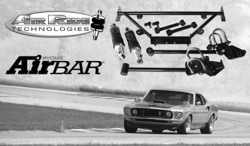 Bret Voelkel's '69 Mustang is shown tearing up the road course with its Air Ride Technologies AirBar four-link rear suspension and ShockWave front suspension kit. New technology has taken airassisted suspension systems to the next level. (Photo courtesy Air Ride Technologies via Scott Killeen)