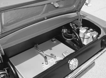 Your Restomod can hold its fuel in a small, stock fuel tank, or for more mileage you can install a larger aftermarket fuel tank or fuel cell. Rock Valley makes stainless fuel tanks for Restomods. The fuel cell in this Year One-built Mustang is from Fuel Safe.