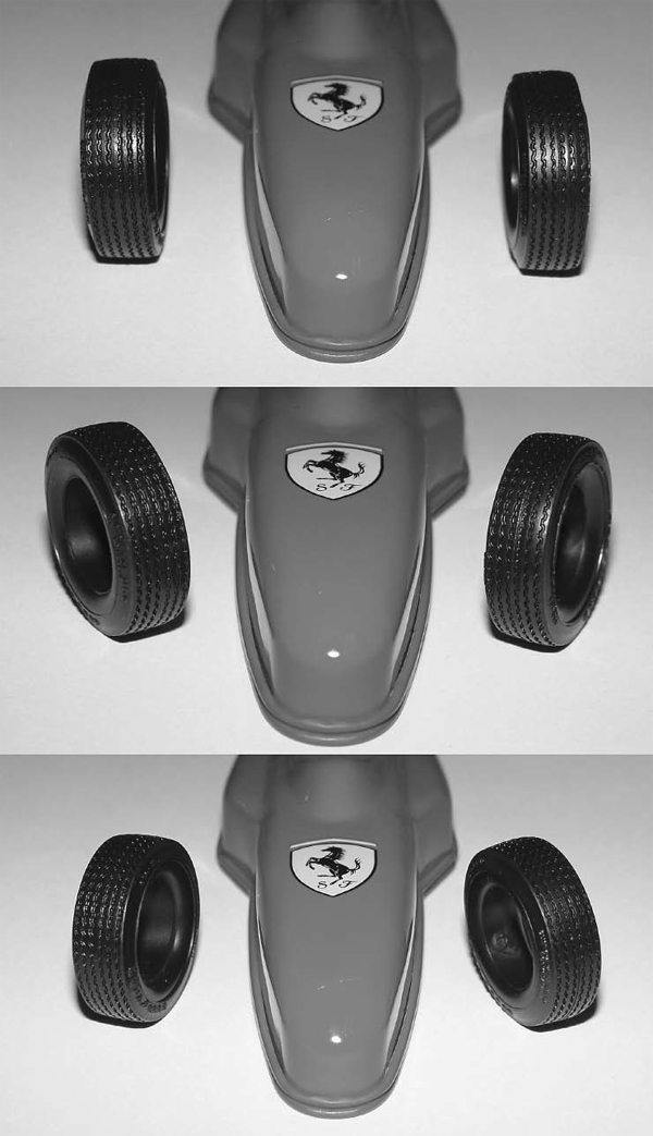 The top of the photo shows the front tires in zero (neutral) toe. The car will drive straight and have very little rolling resistance. For demonstration purposes, the middle photo shows the front tires in extreme toe-in, and the lower photo shows the front tires in extreme toe-out.