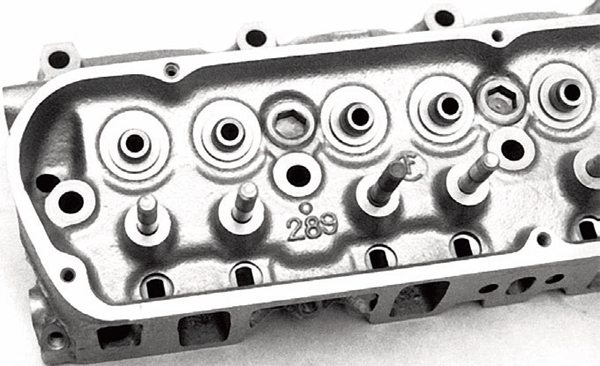 The 1963-67 289 High Performance head is a rare casting useful to restorers only. Port and valve size are the same as the 289-2V/4V casting. What makes the Hi-Po head distinctive is valve spring pockets and screw-in rocker arm studs for stability at high revs. Spend your money wisely on the right factory heads and a port job, or good aftermarket heads that will yield more power.