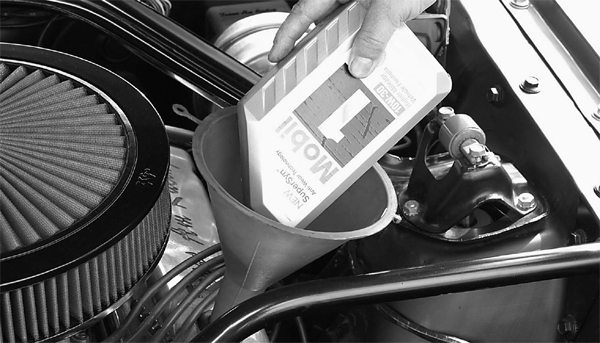 Fill your small-block's oil pan with regular SAE 30 weight engine oil. We suggest the use of Castrol SAE 30 or 10w30 weight oil for your break-in.