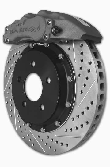 This is a Baer Brakes Track System rotor and caliper. The 13x1.1-inch rotors are a one-piece cast design that have been upgraded with cross-drilling, slotting, and zinc-washing options. The caliper is a two-piston floating PBR unit. (Photo Courtesy Baer Brakes)