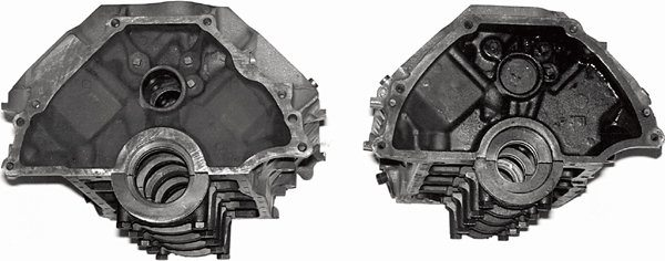 Here are the two small-block bellhousing bolt-patterns you can expect to find for 221/260/289ci blocks. On the left is the six-bolt pattern common from late-1064- up. On the right is the smaller five-bolt pattern common between 1962-64. With this pattern is a narrow transmission bolt-pattern.