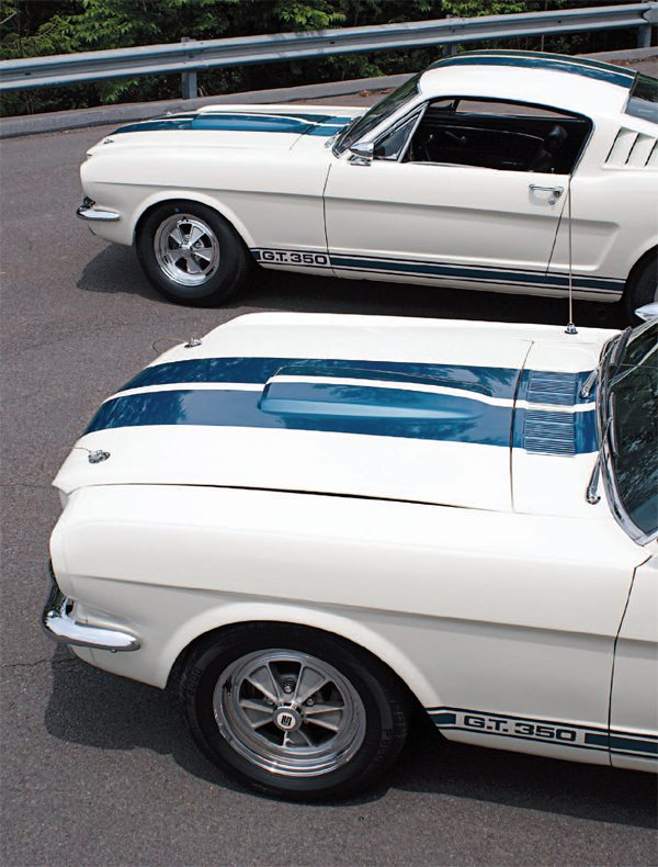 One of the changes made to the 1966 GT350 was a replacement of the 1965 decal and paint stripe with one that was entirely a decal. While the new stripe was a little narrower (by 3/4 inch), Shelby American didn't feel the visual effect was significantly diminished. What was diminished was the amount of labor required to apply the new tape stripe, the decal stripes required almost a third less labor than the old combination paint and decal version to apply