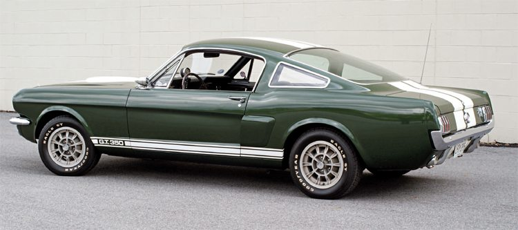 "Although one of four colors other than white available for 1966, Ivy Green can be said to be ""the first"" color offered as Shelby painted its Paxton prototype this color at Los Angeles even before receiving green Mustangs from San Jose."