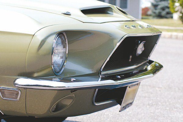 While separating the Mustang's two headlights into four for the 1967 Shelby may have been a styling home run, it was an electrical strike-out (and a legal foul ball). For 1968, it was back to a two-light system, just as on the base Mustang. A pair of driving lights sprouted from the lower edge of the upper grille opening