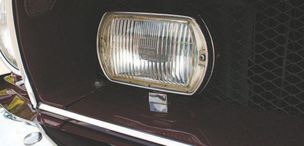 Driving lights were mounted on the lower edge of the upper grille opening. Early cars used Marchal lights, but Lucas driving lights replaced the federally unapproved Marchal units and continued until the end of 1968 production