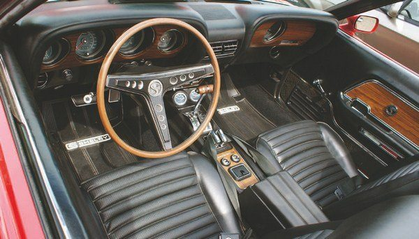 Continuing the trend started in 1967 of basing the Shelby interior on a deluxe Mustang cockpit, the 1969 Shelby used the Mustang Mach I as its roots. Simulated woodgrain abounded, and high-backed bucket seats gave the interior the desired luxurious ambiance to the Shelby GT350 and GT500.