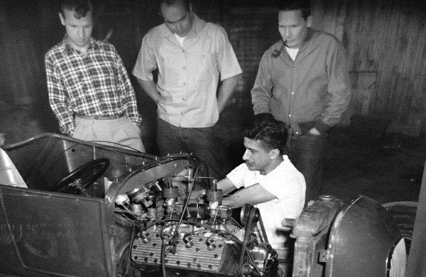 Barney works on the 1927 Ford Roadster that he raced at the dry lakes. It sports his cast-aluminum dual intake manifold and finned heads. He also experimented (successfully) with mixing alcohol and oxygen. (Photo Courtesy H&H Flatheads)
