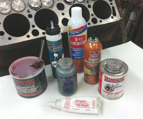 Lubricants and sealers are needed for the assembly process. In addition to the Berryman cleaner, Mike prefers Driven engine assembly grease, 7eP Fast Gasket, Permatex Spray-A-Gasket, Permatex Anti-Seize Lubricant, and Gasgacinch.